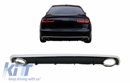 Rear Bumper Valance Diffuser & Exhaust Tips suitable for AUDI A6 C7 4G Limousine Avant (2010-2014) RS6 Design - RDAUA64GRS6