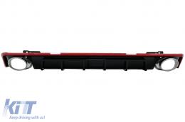 Rear Bumper Valance Diffuser & Exhaust Tips suitable for Audi A6 C8 4K Avant Sedan (2018-up) RS6 Design Red - RDAUA64KRS6R