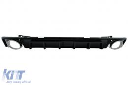 Rear Bumper Valance Diffuser & Exhaust Tips suitable for Audi A6 C8 4K Avant Sedan (2018-up) RS6 Design Piano Black - RDAUA64KRS6B