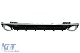 Rear Bumper Valance Diffuser & Exhaust Tips suitable for Audi A6 C8 4K Avant Sedan (2018-up) RS6 Design Silver - RDAUA64KRS6C