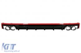 Rear Bumper Valance Diffuser & Exhaust Tips suitable for Audi A6 C8 4K Avant Sedan (2018-up) S6 Design Red - RDAUA64KS6R