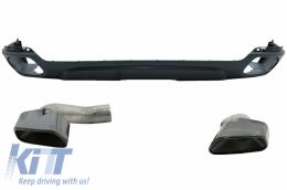 Rear Bumper Valance Diffuser & Square Exhaust Tips suitable for BMW X5 F15 (2013-2018) M-Tech V8 Design For Standard Rear Bumper Dark Grey Edition - RDBMX5F15MTB