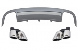 Rear Bumper Valance Diffuser suitable for AUDI A5 8T 4D Sportback S-Line Non Facelift (2007-2011) with Exhaust Muffler Tips - CORDAUA58TS54D