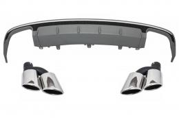 Rear Bumper Valance Diffuser suitable for AUDI A6 4G Facelift (2015-2018) Sedan Limousine with Exhaust Muffler Tips S6 Design - CORDAUA64GFS6