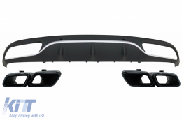Rear Bumper Valance Diffuser with Black Exhaust Muffler Tips Mercedes C-Class C205 A205 Coupe Cabriolet (2014-) C63 AMG Design - CORDMBC205C63B