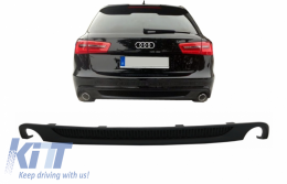Rear Bumper Valance Diffuser With Double Outlet Audi A6 4G (2012-2015) S-line S6 Design - RDAUA64GS6DO