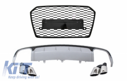 Rear Bumper Valance Diffuser with Exhaust Muffler Tips and Front Grille suitable for AUDI A6 4G Facelift (2015-2018) Sedan Limousine RS6 Design - COCBAUA64GFS6SLTYFG