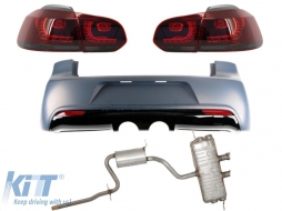 Rear Bumper Volkswagen Golf VI (2008-2013) R20 Design with Taillights Full LED Red/Smoke and Complete Exhaust System