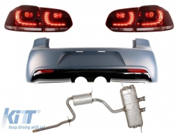 Rear Bumper Volkswagen Golf VI (2008-2013) R20 Design with Taillights Full LED Red/Black and Complete Exhaust System - CORBVWG6R20EST