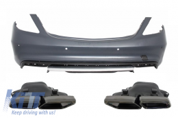 Rear Bumper With Black Muffler Tips Mercedes Benz W222 S-Class (2013-up) S63 AMG Design - CORBMBW222AMGS63B