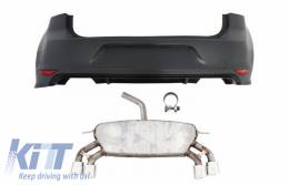 Rear Bumper with Complete Exhaust System suitable for VW Golf 7 VII MK7 (2013-2017) R Design - COESVWG7RBFRB