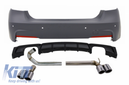 Rear Bumper with Double Outlet Diffuser and Exhaust Systems suitable for BMW 3 Series F30 (2011-up) Performance Design - CORBBMF30MTDOBES