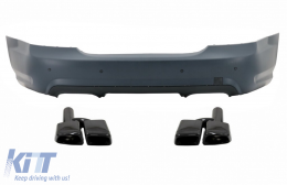 Rear Bumper with Exhaust Muffler Tips Black suitable for Mercedes S-Class W221 (2005-2010) S65 Design - CORBMBW221TYNB