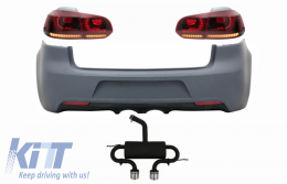 Rear Bumper with Exhaust System and Taillights Full LED suitable for VW Golf 6 VI (2008-2013) R20 Design Red Cherry with Sequential Dynamic Turning Lights (LHD and RHD)