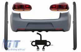 Rear Bumper with Exhaust System suitable for VW Golf 6 VI (2008-2013) R20 Design Side Skirts and Taillights Full LED Red Cherry with Sequential Dynamic Turning Lights (LHD and RHD)