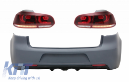 Rear Bumper with Taillights Full LED suitable for VW Golf VI (2008-2013) R20 Design Cherry Red (LHD and RHD)