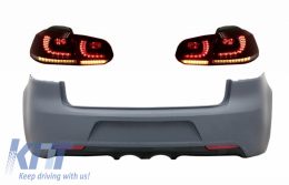 Rear Bumper with Taillights Full LED suitable for VW Golf VI (2008-2013) R20 Design Dynamic Sequential Turning Light (LHD and RHD)