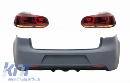 Rear Bumper with Taillights Full LED suitable for VW Golf 6 VI (2008-2013) R20 Design Red Cherry with Sequential Dynamic Turning Lights (LHD and RHD)