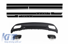 Rear Diffuser and Exhaust Tips Tailpipe Package Black for Mercedes A-Class W176 (2012-up) with Side Decals Sticker Vinyl Matte Black - CORDMBW176AMGBDGSMB
