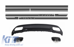 Rear Diffuser and Exhaust Tips Tailpipe suitable for Mercedes A-Class W176  (2012-up) Sport Pack with Side Decals Sticker Vinyl Dark Grey - CORDMBW176AMGBDGS