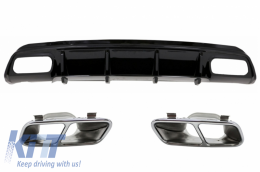 Rear Diffuser Black Edition with Muffler Tips Mercedes W176 A-Class 2012-2015 AMG A45 Facelift - CORDMBW176FA45