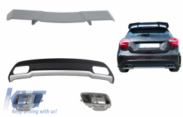 Rear Diffuser with Exhaust Tips Tailpipe & Trunk Spoiler for MERCEDES A-Class W176 (2012-2018) Sport Pack - CORDMBW176AMGTSM