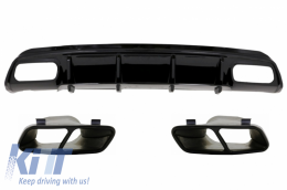 Rear Diffuser with Muffler Tips Black suitable for MERCEDES W176 A-Class 2012-2015 AMG A45 Facelift - CORDMBW176FA45B
