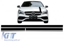 Set Sticker Matte Black Upper Bonnet Roof & Tailgate Mercedes Benz CLA W117 C117 X117 (2013-2016) A Class W176 (2012-2018) 45 AMG Design Edition 1 - STICKERMBHMB