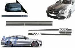 Set Sticker Side Decals & Upper Bonnet Roof Tailgate & Sticker Mirror Dark Grey suitable for MERCEDES C205 Coupe A205 Cabriolet (2014-2016) A45 Design Edition 1 - COCBSTICKERC205DG