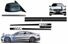 Set Sticker Side Decals & Upper Bonnet Roof Tailgate & Sticker Mirror Black suitable for MERCEDES C205 Coupe A205 Cabriolet (2014-2016) A45 Design Edition 1 - COCBSTICKERC205MB