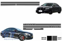 Set Sticker Side Decals&Upper Bonnet Roof Tailgate Dark Grey Mercedes Benz CLA W117 C117 X117 2013-2016 45 AMG Design Edition 1 - COSTICKERW117DG