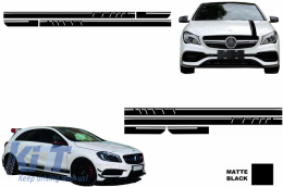 Set Sticker Side Decals&Upper Bonnet Roof Tailgate Matte Black Mercedes Benz CLA W117 C117 X117 2013-2016 45 AMG Design Edition 1 - COSTICKERMBHMB