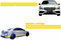 Set Sticker Side Decals&Upper Bonnet Roof Tailgate Matte Yellow suitable for MERCEDES Benz CLA W117 C117 X117 (13-16) W176 (12-18) 45 A-Design Edition 1 - COSTICKERW117YE