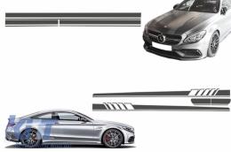 Set Sticker Side Decals&Upper Bonnet Roof Tailgate Dark Grey suitable for MERCEDES Benz Coupe C205 A205 Cabriolet 2014+ 45 A-Design Edition 1 - COSTICKERC205DG