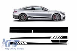 Set Sticker Side Decals&Upper Bonnet Roof Tailgate Matte Black suitable for MERCEDES Benz Coupe C205 A205 Cabriolet 2014+ 45 AMG Design Edition 1 - COSTICKERC205MB