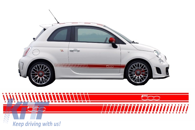 Side Decals Sticker Vinyl Red Suitable For Fiat 500 2007
