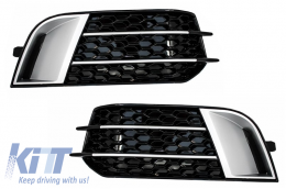 Side Grilles Fog Lamp Covers suitable for AUDI A1 (8X) (2010-up) RS1 Black Edition - SGAUA18XRS