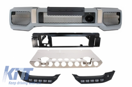 Skid Plate Off Road Package Under Run Protection with DRL Lights suitable for MERCEDES Benz G-class W463 (1989-2017) AMG Design with Front Bumper G65 AMG Look - COSPMBW463FBAMGB