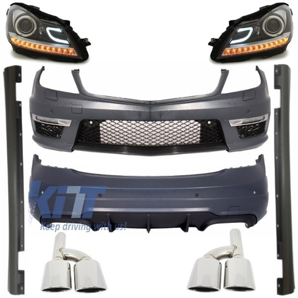 Suitable for MERCEDES C-class W204 C204 Facelift C63 Design Complete  Exterior Body Kit with Exhaust Muffler Tips and Daytime Headlights