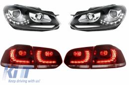 Taillights LED Volkswagen Golf 6 VI (2008-up) R20 Design with Headlights LED DRL  - COTLVWG6R20RCHDB