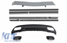 Trunk Spoiler Diffuser Exhaust Tips suitable for MERCEDES W176 A-Class 2012+ A-Design with Side Decals Sticker Vinyl Dark Grey - COCBMBW176AMGBDG
