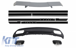 Trunk Spoiler Diffuser Exhaust Tips suitable for MERCEDES W176 A-Class 2012+ A-Design with Side Decals Sticker A-Design Edition 1 - COCBMBW176AMGMB