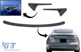 Trunk Spoiler with Turn Signal Covers Side Markers suitable for Tesla Model 3 (2017-up) Real Carbon - CO7404CFM3