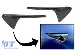 Turn Signal Covers Side Markers suitable for Tesla Model 3 Y S  X (10.2016-up) with AutoPilot 2 or greater Real Carbon Fiber - CAPSTRLM3