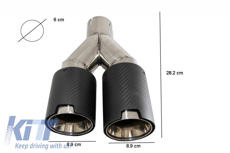 universal dual twin exhaust muffler tips carbon fiber matte finish inlet 6cm 2 36inch