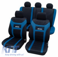 Universal seat cover Eco-Class Super-Speed complete set 11 pieces Blue - 22974805