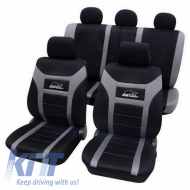 Universal seat cover Eco-Class Super-Speed complete set 11 pieces Gray - 22974818