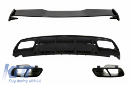 Valance Rear Diffuser Suitable for MERCEDES W176 A-Class (2012-2018) with Exhaust Muffler Tips and Roof Boot Lid Spoiler A45 Design Facelift  Black Edition - CORDMBW176FTSTYB