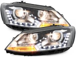 VW Jetta 6 11-13 LED DRL Headlight Black - SWV39ELGXB