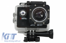 Xblitz Action Camera 4k Full HD 1920x1080P, 2 Inch Screen, 170 Degrees Lens, With Wi-Fi, Waterproof, Black - XBACTION4K